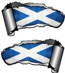 Small Pair Ripped Torn Metal Gash Design & Scottish Saltire St Andrews Flag Car Sticker 93x50mm each